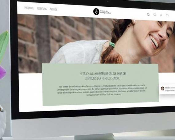 Online Shop mit Wissenswelten für Hundegesundheit