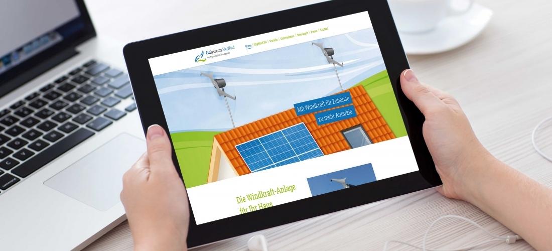 Internetauftritt für Windkraftanlagen-Hersteller