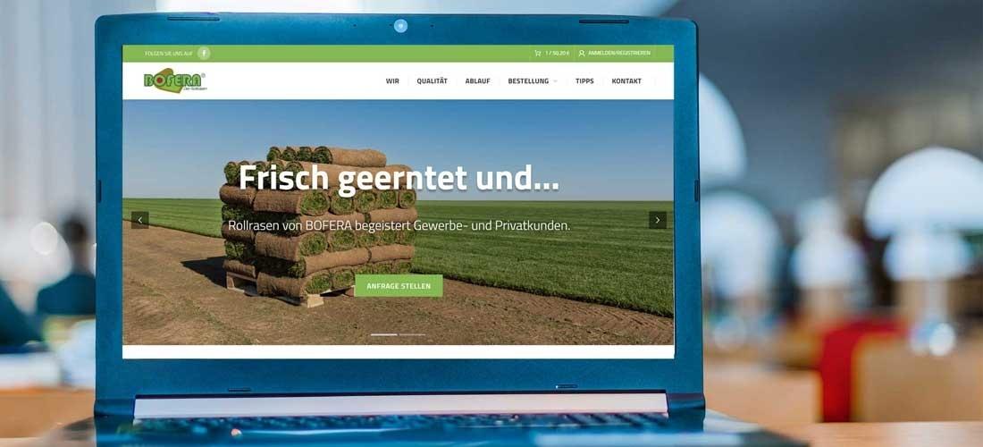 Online Auftritt für Rollrasen mit integriertem Shop