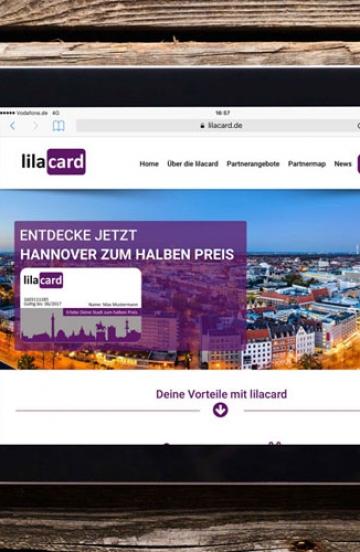 Internetauftritt für Rabattkarte Lilacard